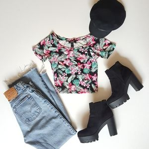 Hawaiian Print Crop Top
